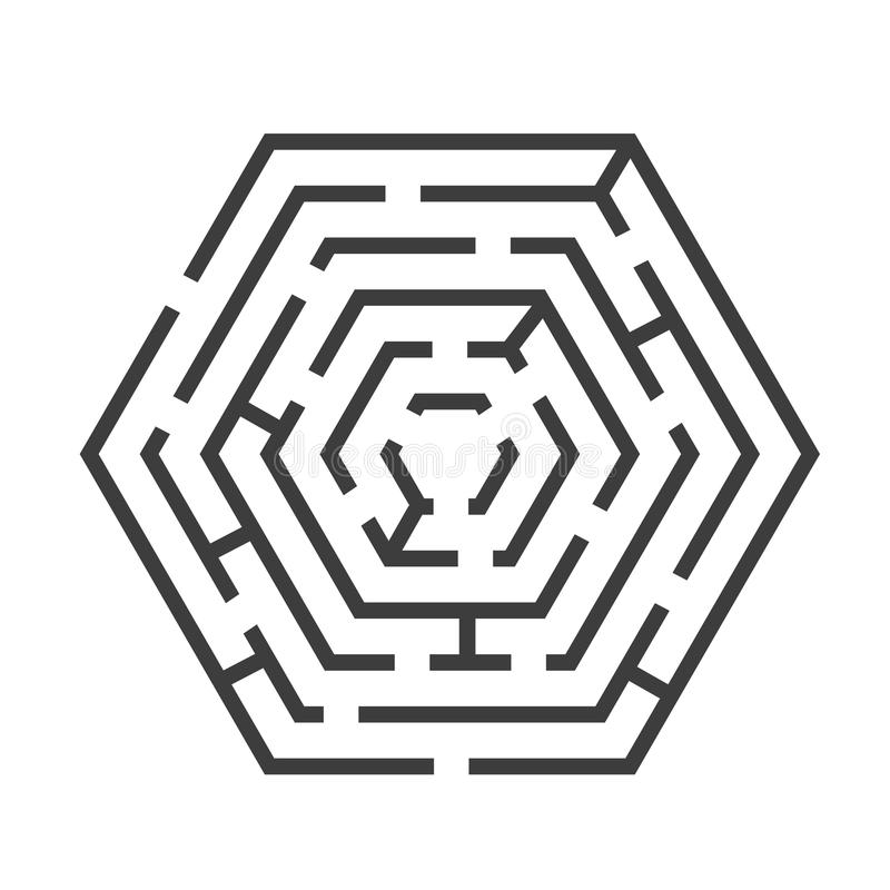 Форма шестиугольника лабиринта или лабиринта вектор иллюстрация вектора
