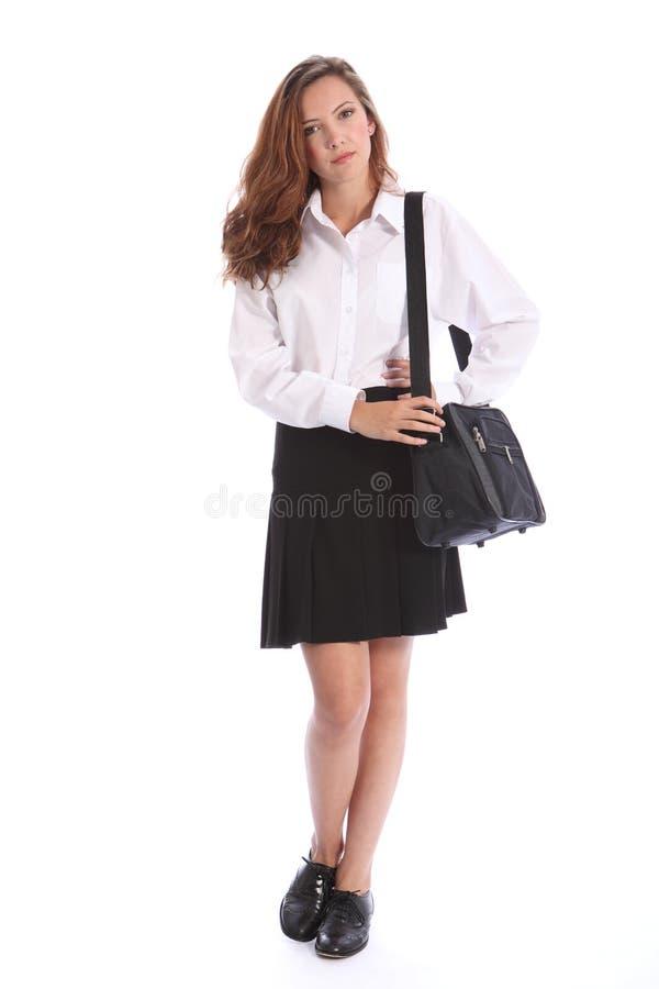 форма школы девушки вторичная серьезная подростковая стоковое изображение