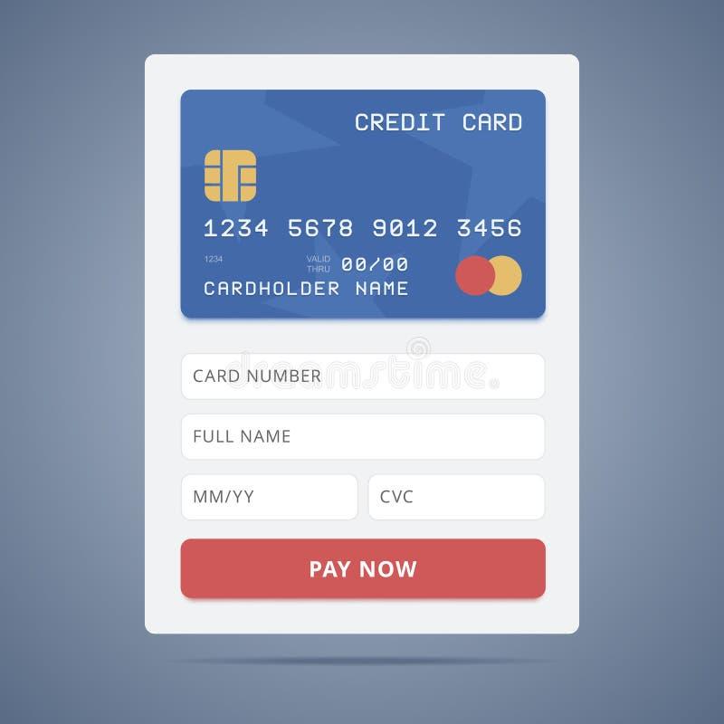 Форма для заявления оплаты с кредитной карточкой иллюстрация штока