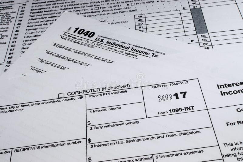 Форма 1099-INT IRS: Процентный доход стоковые фото