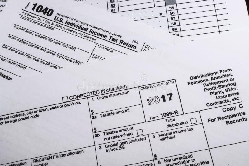 Форма 1099-R IRS: Распределения от пенсий, аннуитетов, Retirem стоковая фотография