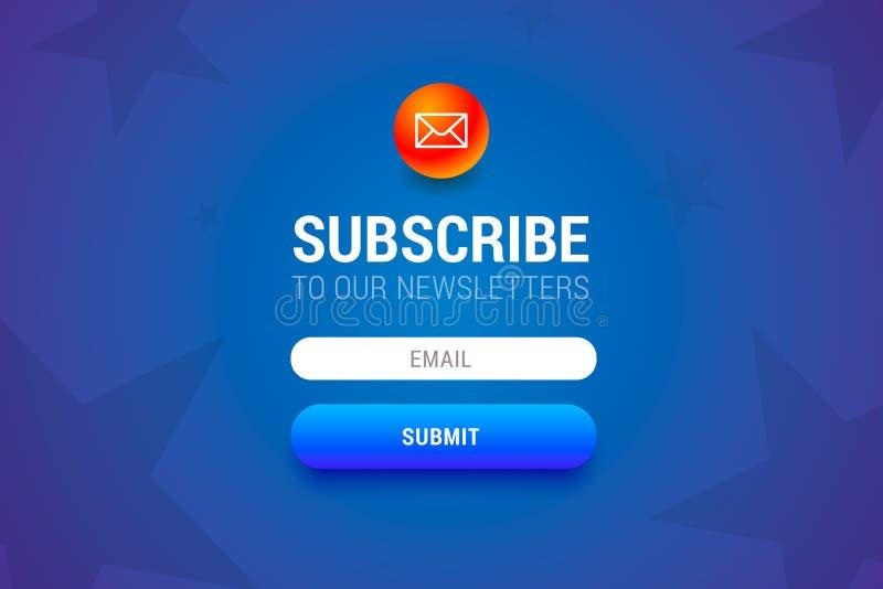 Форма Subcribe с именем и электронной почтой input поля и представляет кнопку бесплатная иллюстрация