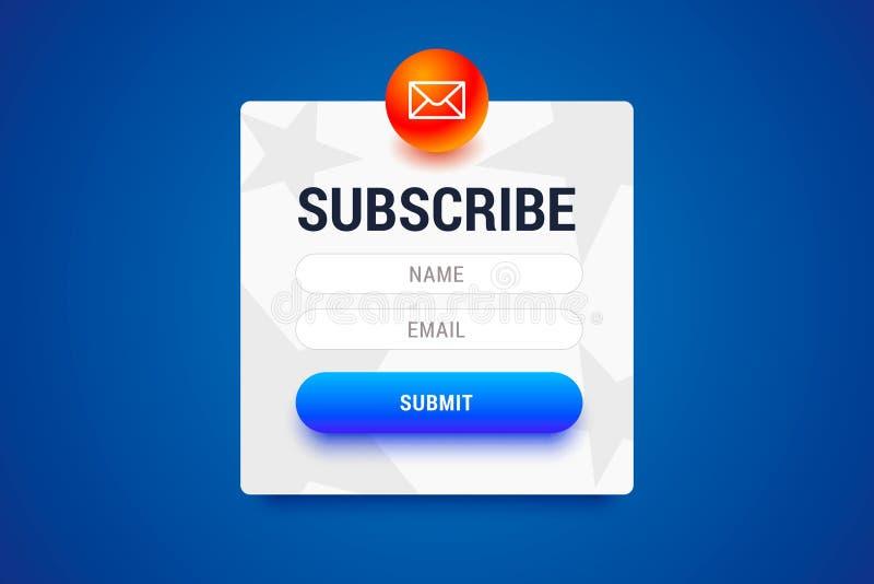 Форма Subcribe с именем и электронной почтой input поля и представляет кнопку иллюстрация штока