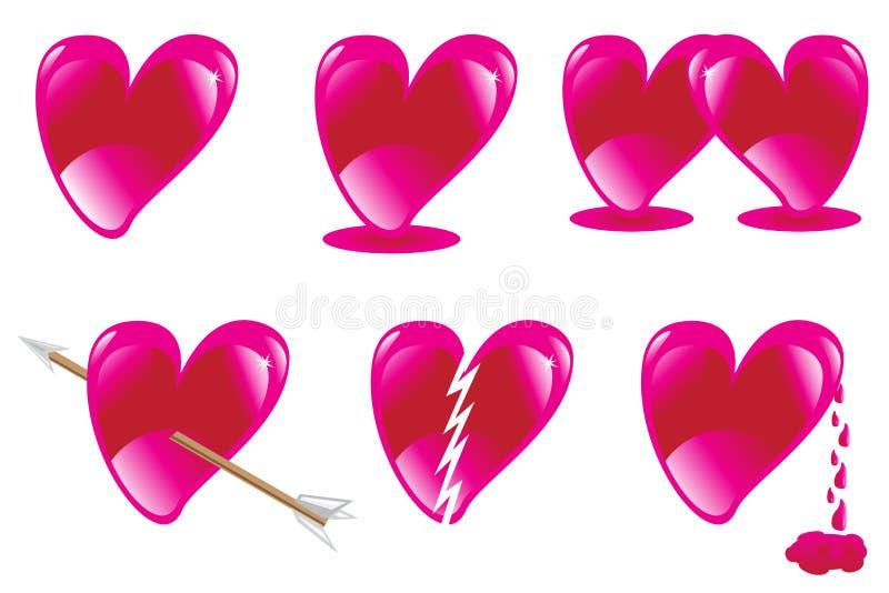 форменное влюбленности сердца установленное стоковые изображения