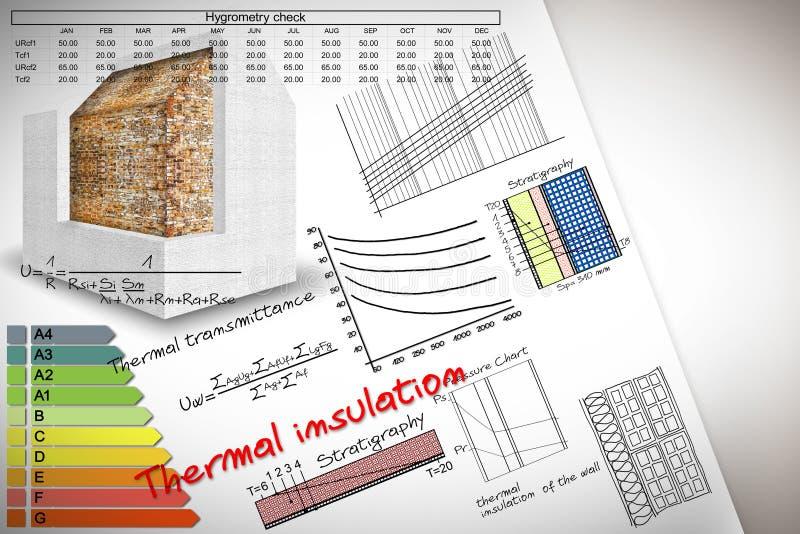 Формулы и диаграммы о выходе по энергии термоизоляции и зданий - изображении концепции стоковые изображения