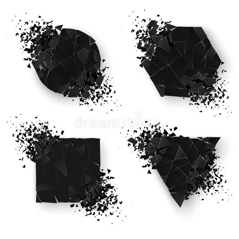 Формы абстрактного взрыва геометрические знамена установили сеть Стикер геометрии установленный с космосом для текста также векто иллюстрация вектора