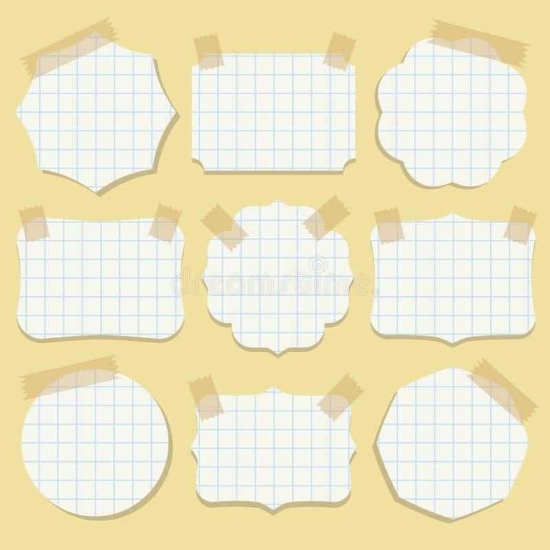 Формы бумаги примечания с лентой. иллюстрация штока