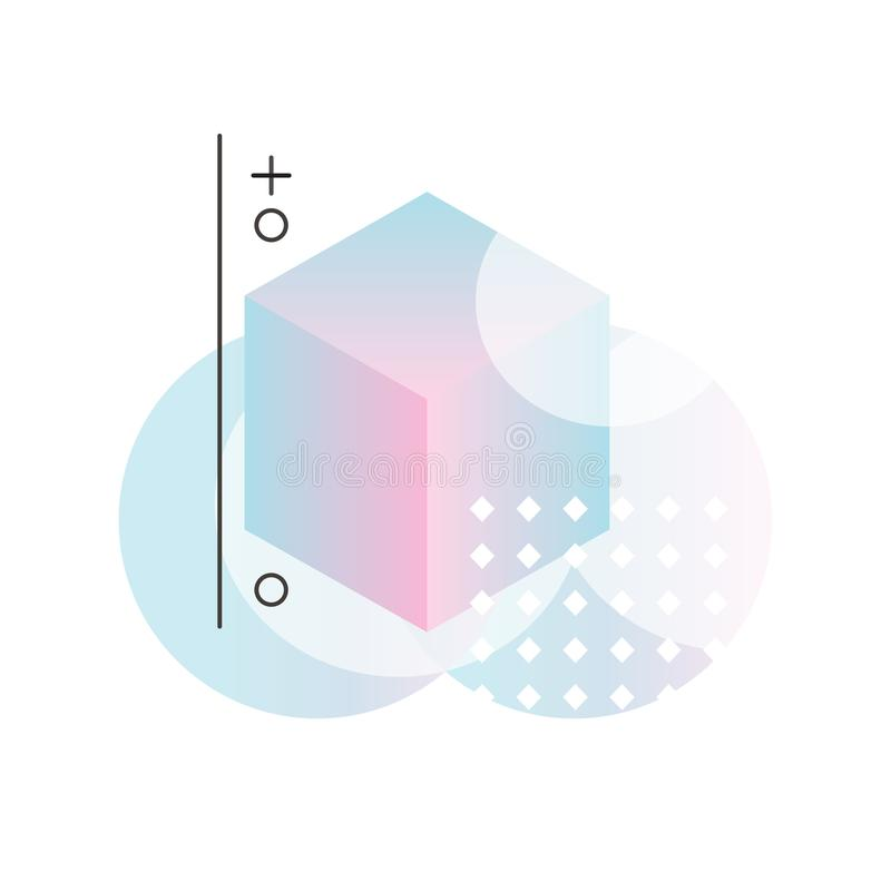 Формы градиента геометрические в розовых и голубых цветах, абстрактный дизайн для ярлыка, представление, плакат, знамя или карточ бесплатная иллюстрация