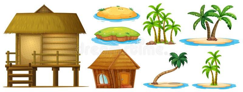 Формы лета установленные различные острова и хаты бесплатная иллюстрация