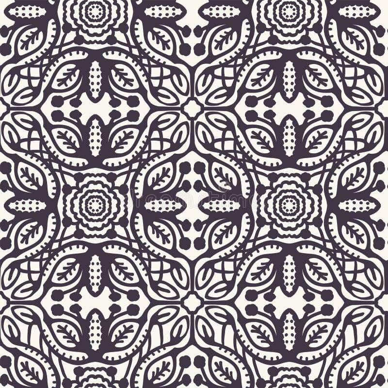 Формы плитки мозаики руки вычерченные Повторение предпосылки azulejo лист Monochrome поверхностный образец ткани дизайна Современ иллюстрация штока