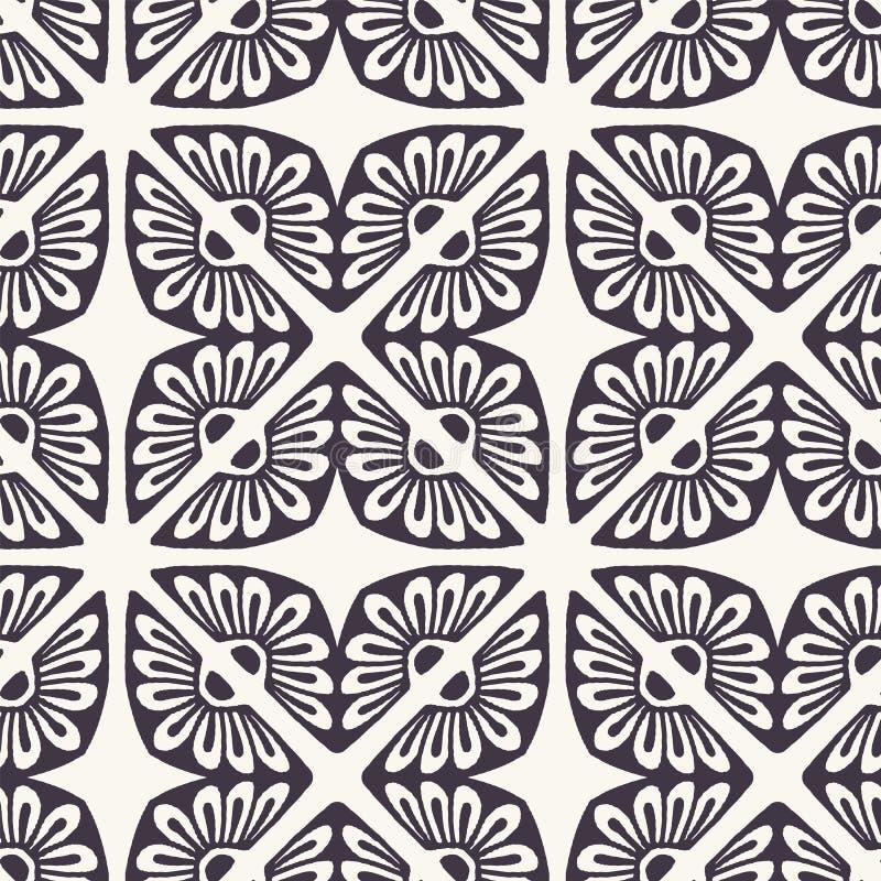 Формы плитки мозаики руки вычерченные флористические Повторение предпосылки azulejo Monochrome поверхностный образец ткани дизайн иллюстрация штока