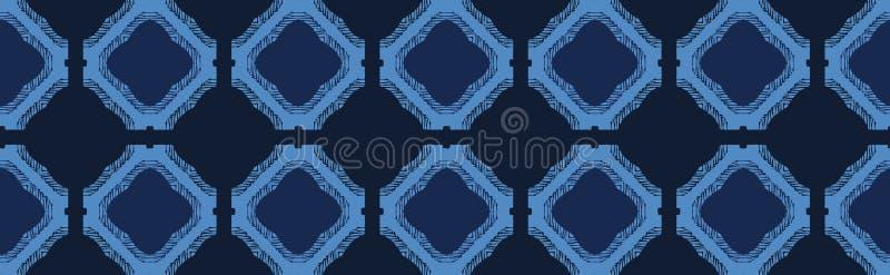Формы плитки мозаики сини индиго Предпосылка картины границы вектора безшовная График квадратов руки вычерченный геометрический о иллюстрация вектора