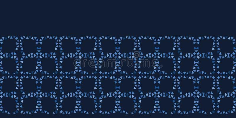 Формы плитки мозаики сини индиго Предпосылка картины границы вектора безшовная График решетки лоскутного одеяла руки вычерченный  бесплатная иллюстрация