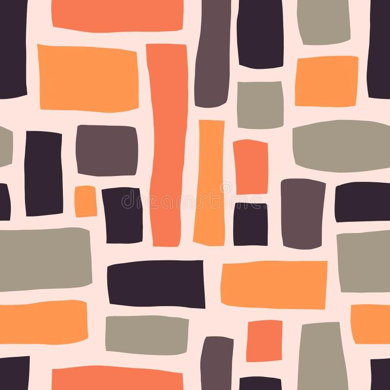 Формы прямоугольника вручают вычерченную абстрактную безшовную картину вектора Пурпурный, апельсин, серые блоки на светлом - розо иллюстрация вектора