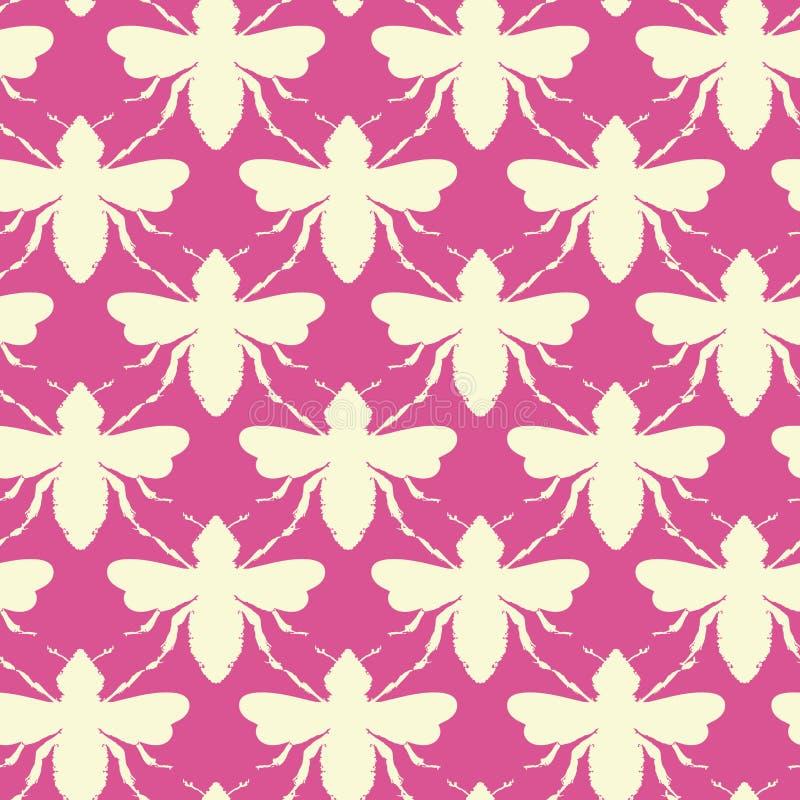 Формы пчел вектора в предпосылке картины ретро цветов безшовной иллюстрация вектора