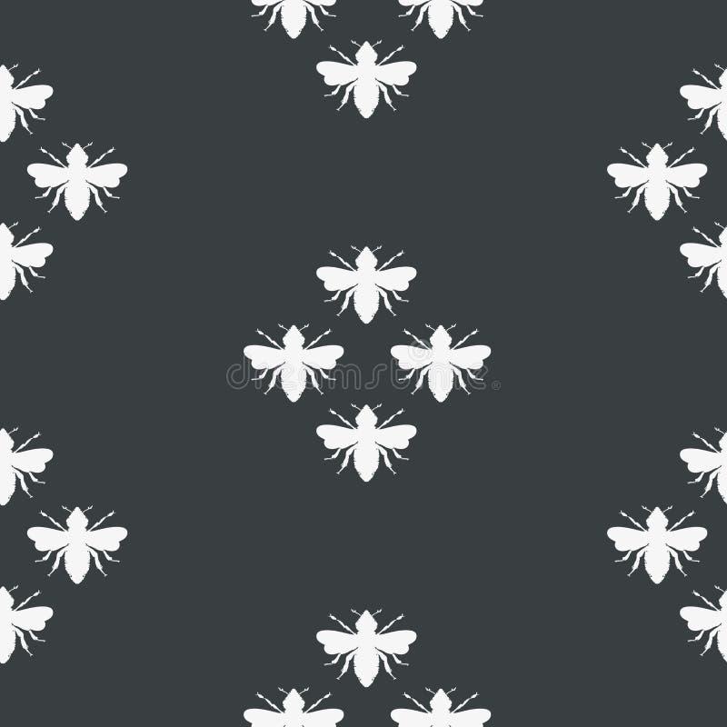 Формы пчел вектора в черно-белой безшовной предпосылке картины иллюстрация вектора