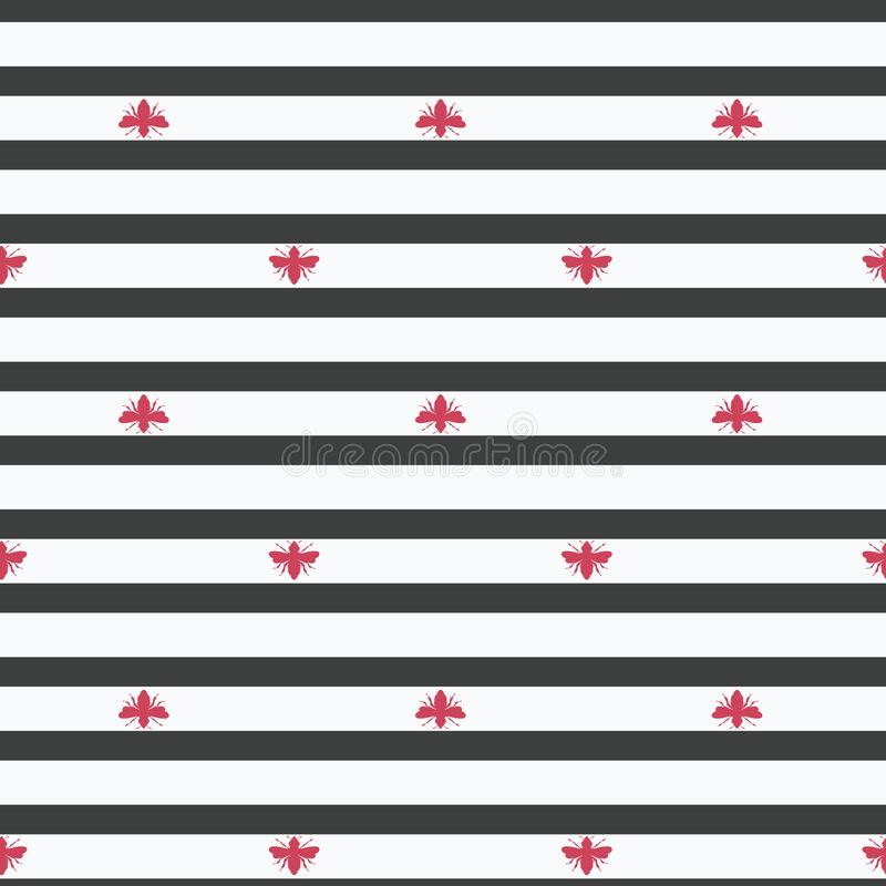 Формы пчел вектора красные на предпосылке картины черно-белых нашивок безшовной бесплатная иллюстрация