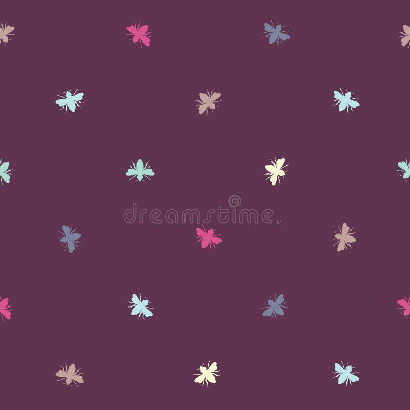 Формы пчел вектора красочные на пурпурной безшовной предпосылке картины иллюстрация штока