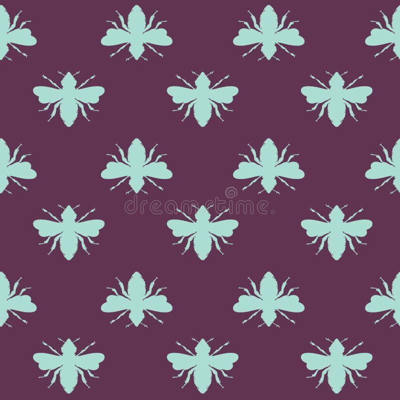 Формы пчел вектора на предпосылке картины пурпура сливы безшовной иллюстрация вектора