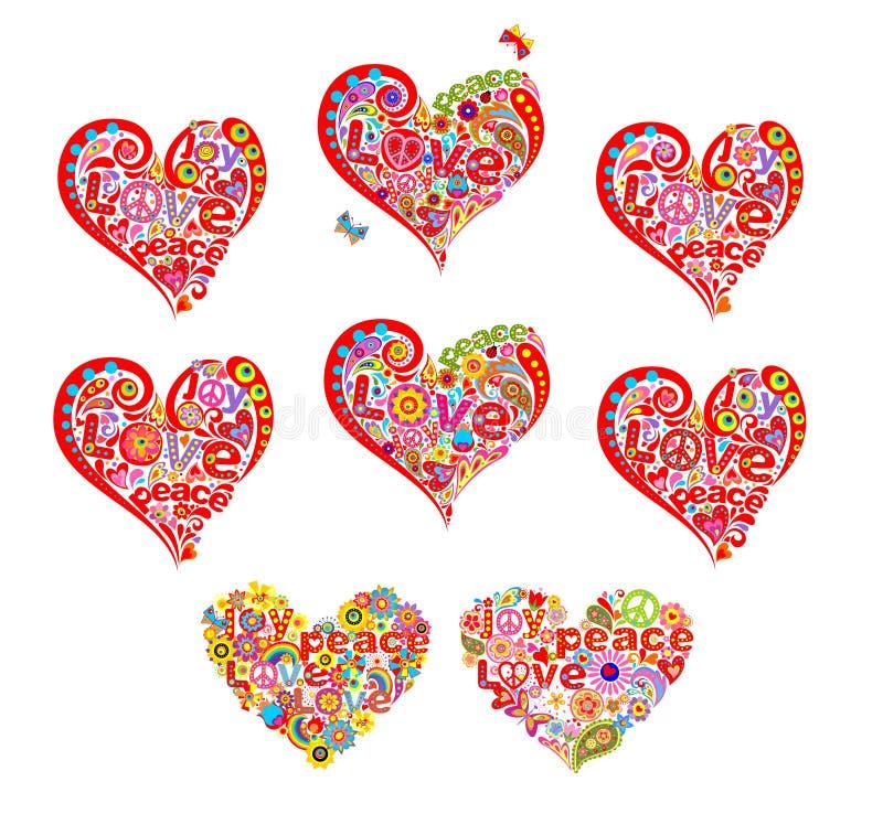 Формы сердца установленные для hippie футболки конструируют с абстрактными цветками, символом мира hippie и словом мира, влюбленн иллюстрация вектора