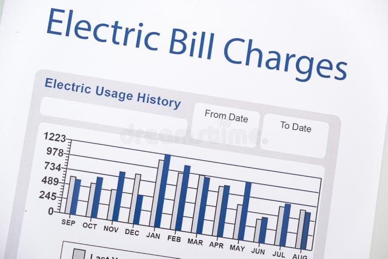 Формы счета за электроэнергию бумажные на крупном плане таблицы стоковая фотография