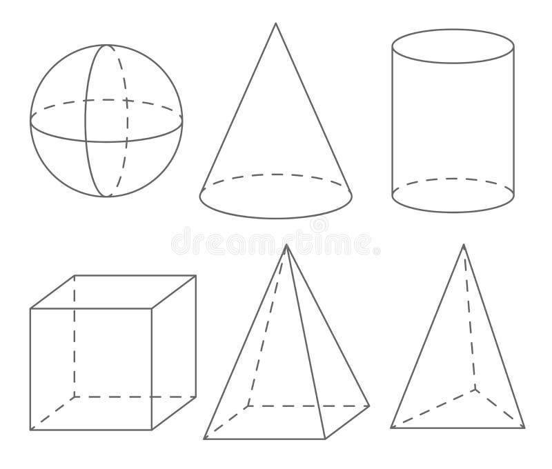 Формы тома геометрические: сфера, конус, цилиндр, куб, пирамида иллюстрация штока
