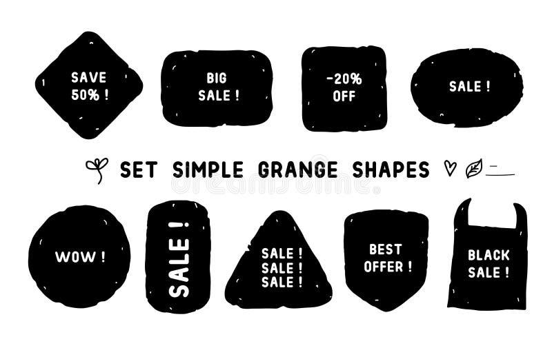 Формы установленной простой усадьбы различные Текстура вектора ручной работы черная предпосылка бирки изолированная на белизне иллюстрация штока