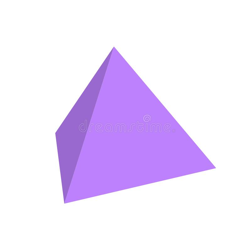 Формы 3d пурпурного тетратоэдра основные простые изолированные на бел иллюстрация вектора