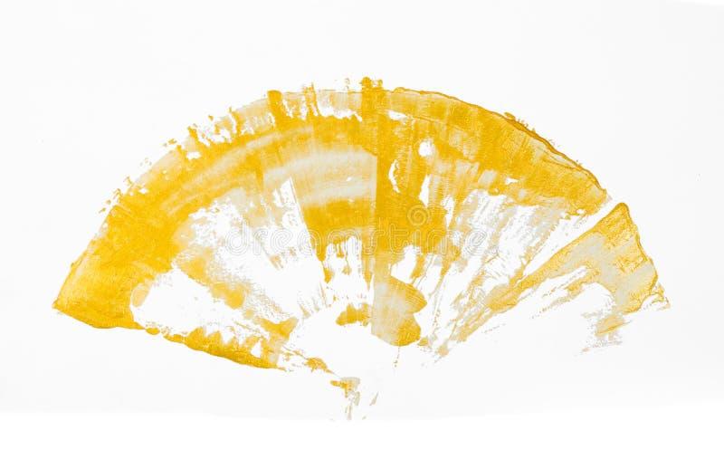 Форм-вентилятор золотой краски изолированный на белой предпосылке стоковые фотографии rf