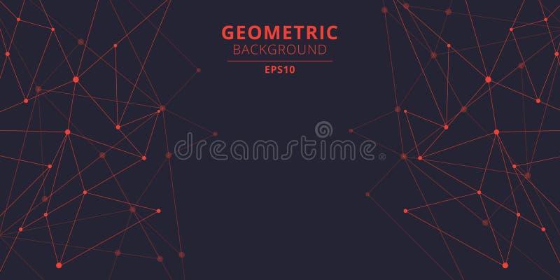 Форм треугольников технологии цвет абстрактных красный с соединяясь точками и линии с космосом экземпляра Большое визуализировани иллюстрация вектора