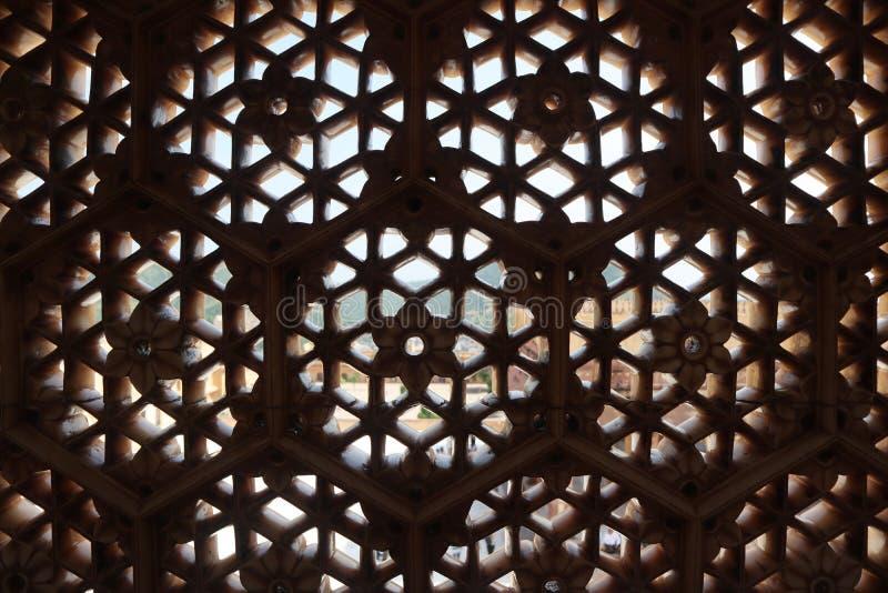 Форт Агры место всемирного наследия ЮНЕСКО на Агре Индии, дизайне интерьера, mughal архитектуре, Тадж-Махале - изображении стоковое изображение