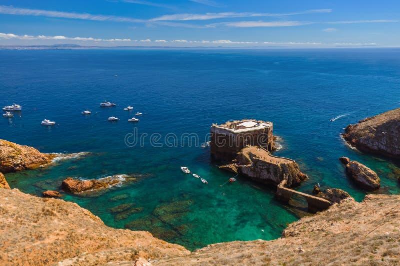 Форт в острове Berlenga - Португалии стоковое фото rf