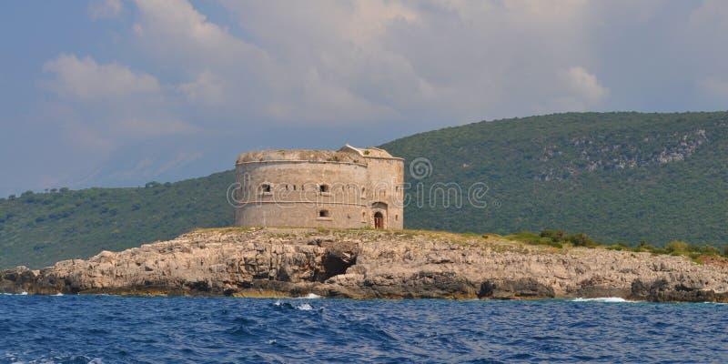 Форт Mamula - Адриатическое море стоковое фото rf