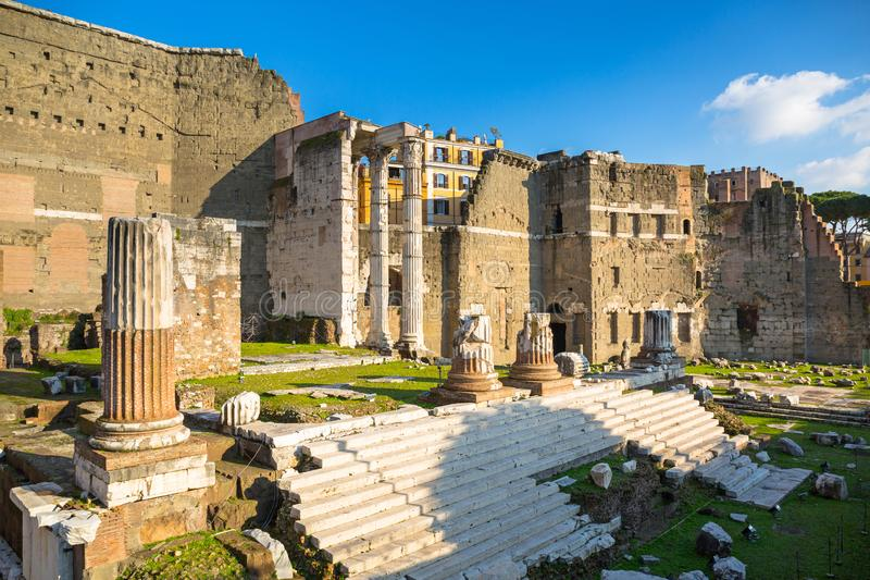 Форум руин Augustus в Риме, Италии стоковые изображения rf