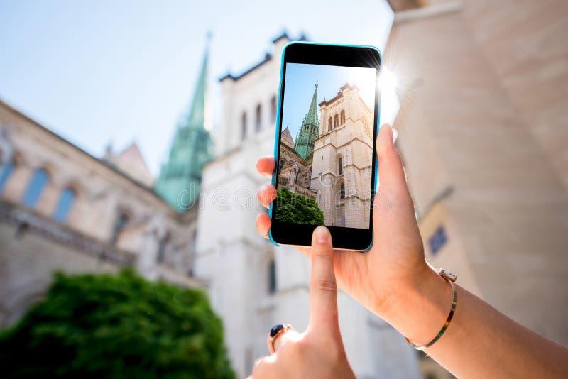 Фотографировать церковь в Женеве стоковое изображение rf