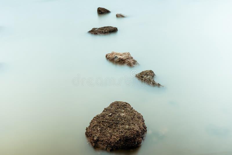 Фотография долгой выдержки волн на каменных водах пляжа окаймляет абстрактную предпосылку моря r стоковая фотография