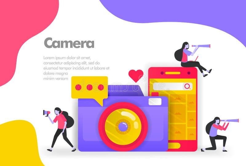 Фотография камеры и публикация концепции иллюстрации изображений Современная плоская идея проекта для приземляясь вебсайта страни иллюстрация вектора