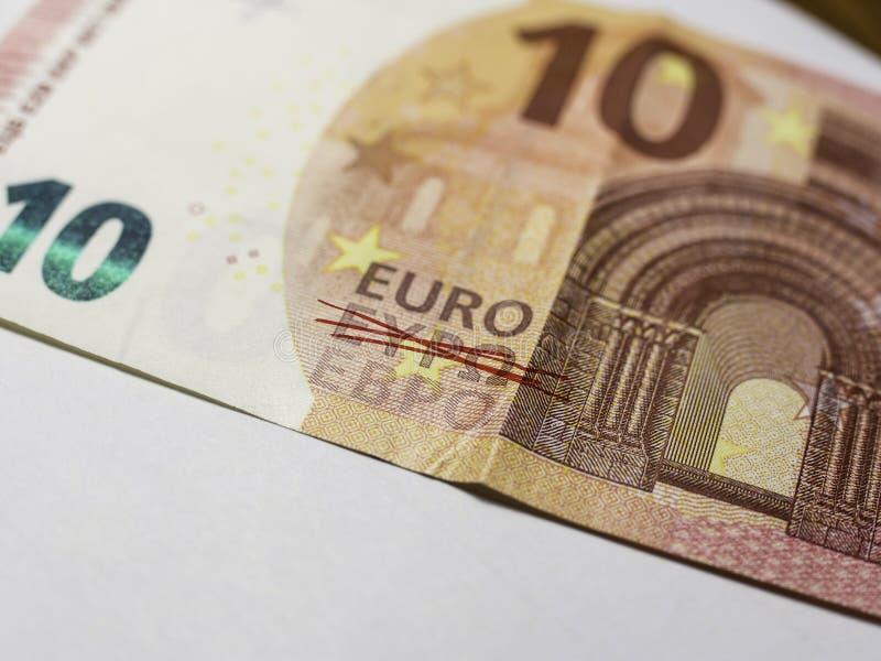 Фотография примечания евро 10 стоковое изображение