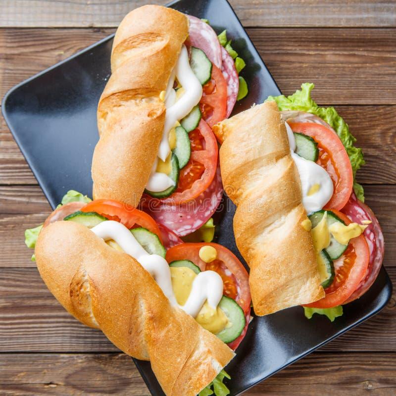 Фотография сандвичей с сосиской стоковая фотография rf