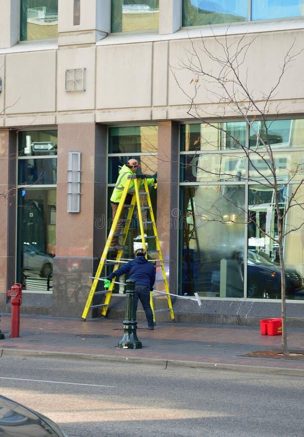 Фотография улицы Boise Айдахо мойщиков окон стоковое фото