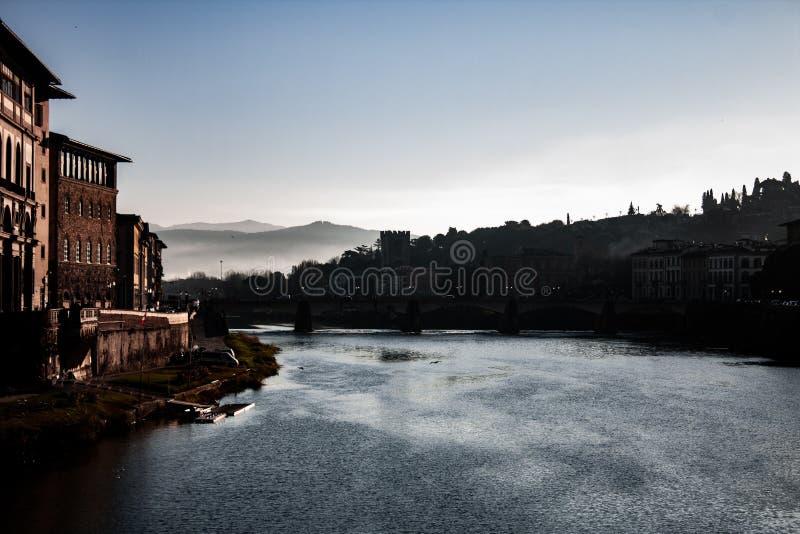 Фотография Флоренс от Ponte Vecchio стоковые фотографии rf