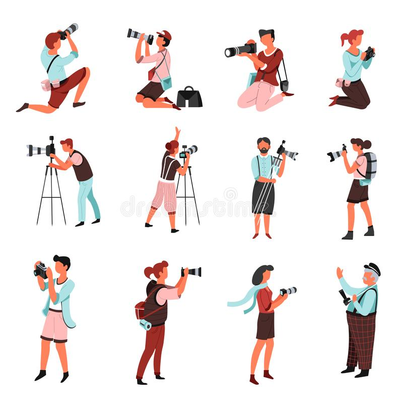 Фотографы или люди и женщины с камерой фото изолировали характеры бесплатная иллюстрация