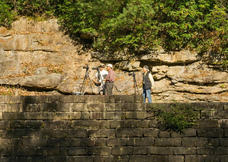 Фотографы на Babcock парке штата, Западной Вирджинии, США стоковая фотография