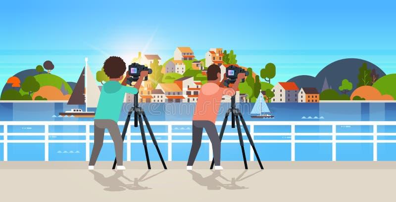 Фотографы перемещения фотографируя природы парни острова города горы бесплатная иллюстрация