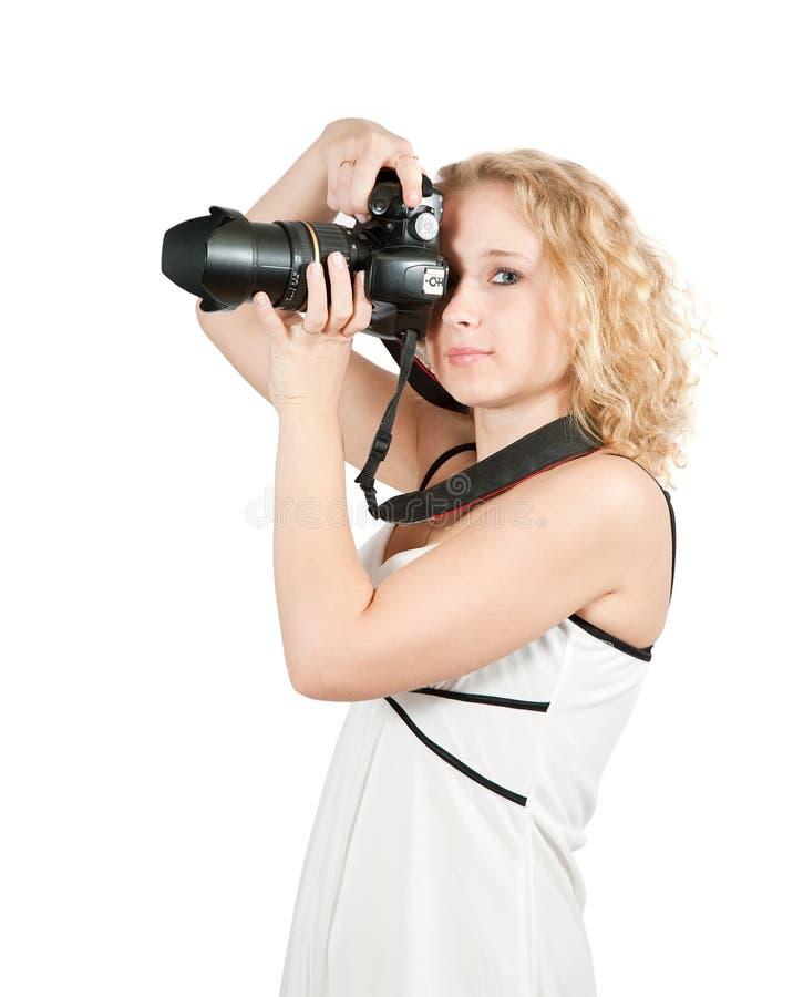 фотограф девушки камеры стоковое фото