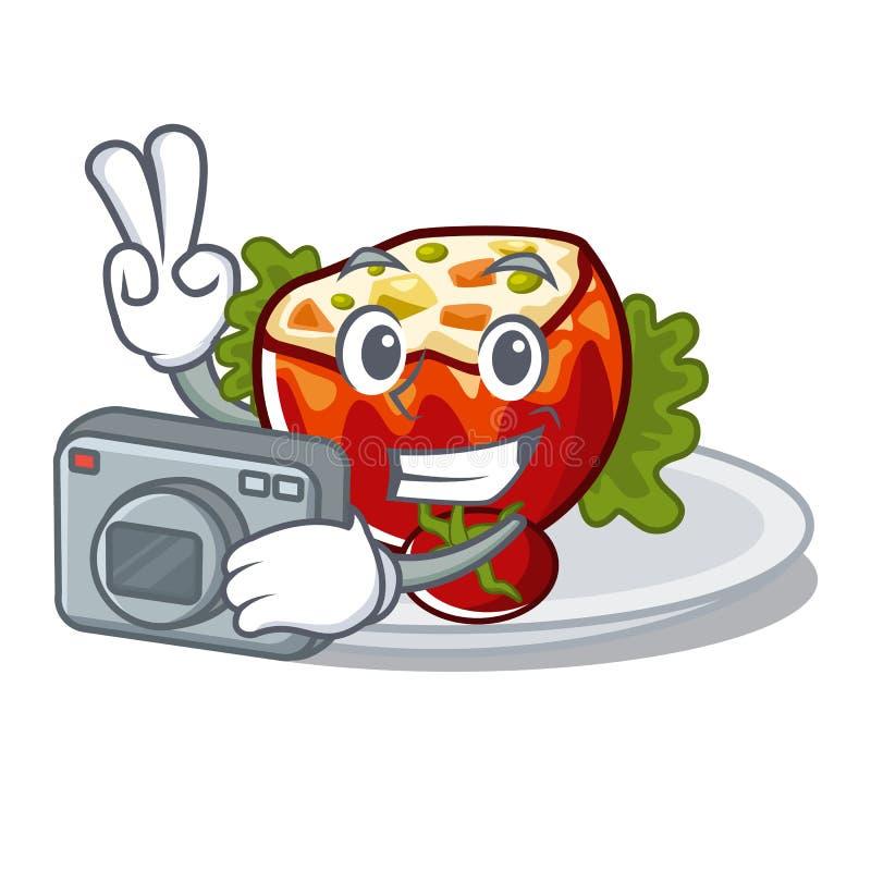 Фотограф заполнил томаты на доске мультфильма бесплатная иллюстрация