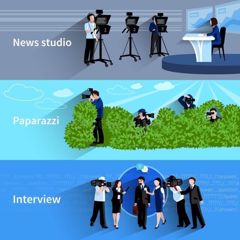 Фотограф и установленные знамена Videographer иллюстрация вектора