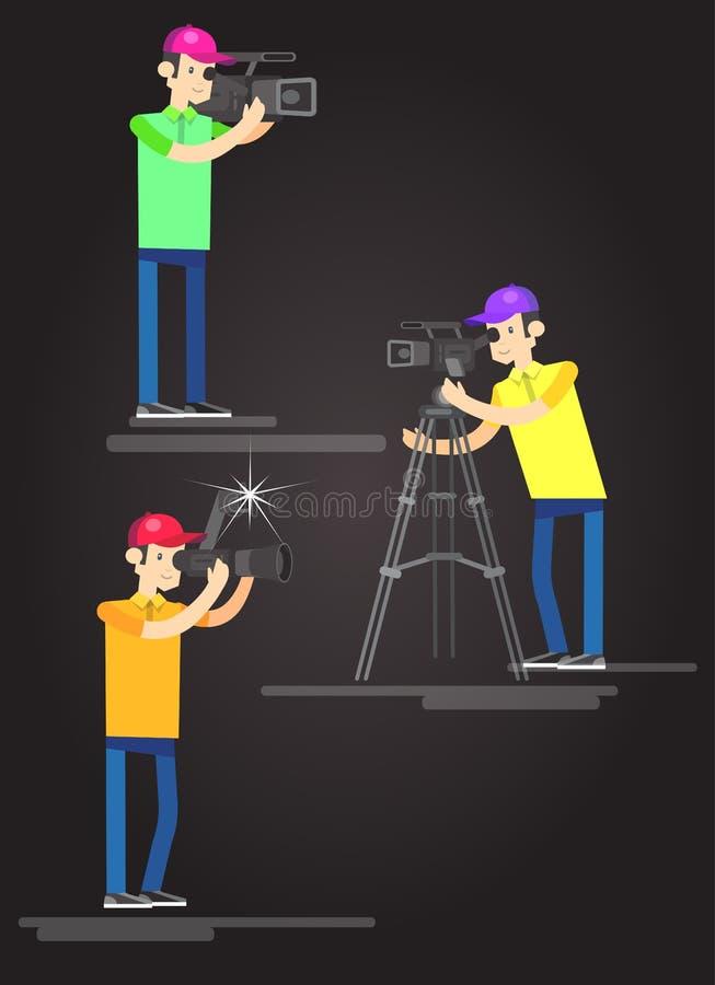 Фотограф и videographer иллюстрация вектора