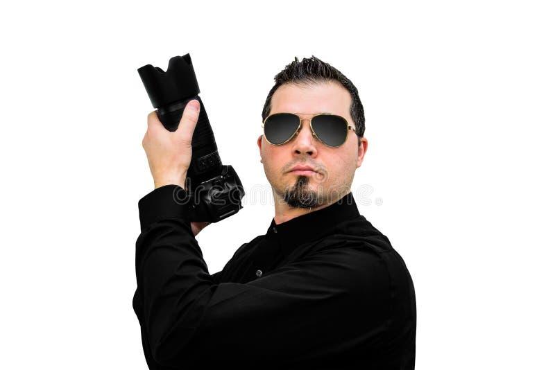 Фотограф как оперативный сотрудник на белом фоне стоковая фотография