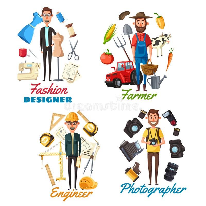 Фотограф, фермер, инженер, модельер иллюстрация вектора